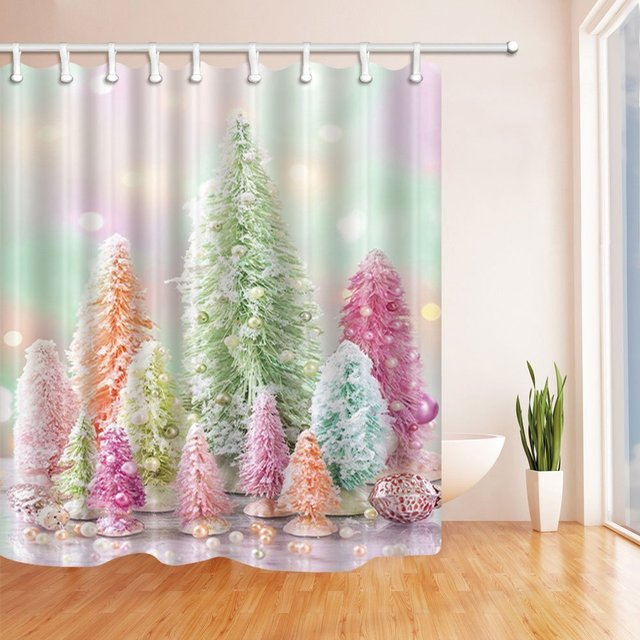 Western Shower Curtains For Bathroom Christmas Tree And Color Ball On The Ice Polyester