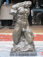 006359 21 Western Art Bronze & Marble muscular buffed naked man nude statue
