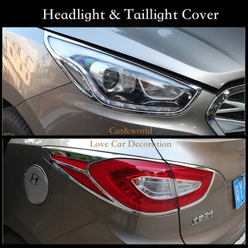 For Hyundai ix35 2013 2015 Chrome Front Rear Headlights Tail Lights Lamp Cover Trim Frame Bezel Garnish Car Styling Accessories
