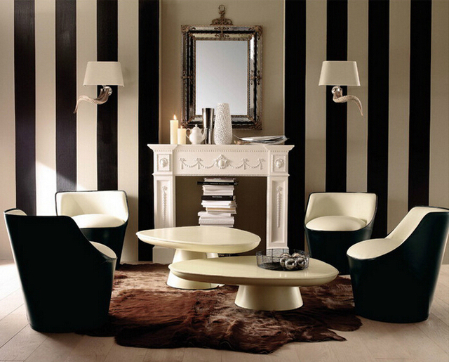 Slaapkamer Bruin Wit : Pvc m roll waterdicht behang moderne zwart wit bruin wit strips