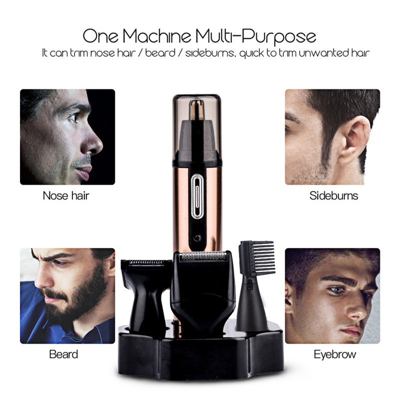 4 In1 Rechargable Ear Nose Trimmer Electric Shaver Razor Beard Face Eyebrows Nose Ear Hair Trimmer Clipper Hair Removal Shaver kemei electric rechargable shaver razor for men nose ear hair cutter ear hair trimmer haircut machine face eyebrows hair removal