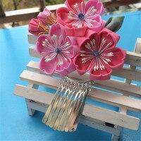 Algodão Sakura borla Franjas de Cabelo DIY Handmade Grampos de Cabelo Lindo Quimono Japonês Clipe O Acessório Do Casamento Mantilha Headwear