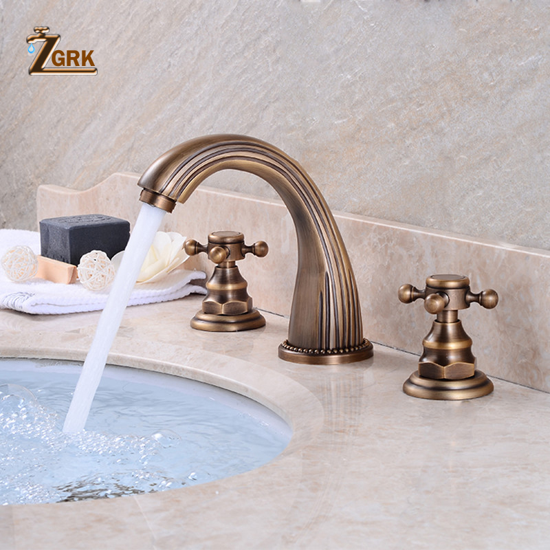 ZGRK robinets de bassin Antique en laiton classique salle de bains évier robinet Double poignée croisée 3 trous lavabo comptoir mitigeur robinets SLT3PC4