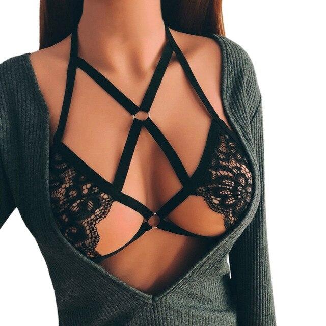 eeed94c4da85 Lace-up underwear Women Sexy Lace Bandage Lingerie Corset Push Up Top  Underwear Veterschoenen # Y502