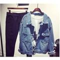 Высокая Мода Женская Джинсовая Куртка Синий Vintage Отверстие Свет Омывается Пальто Свободные Пиджаки 2016 Весна Осень женская Clothing Plus размер
