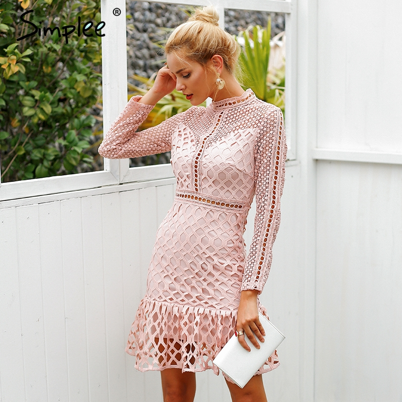 Image 3 - Simplee Elegant hollow out mesh lace women dress Ruffle slim autumn winter dress 2018 High waist long sleeve party sexy dressesDresses   -
