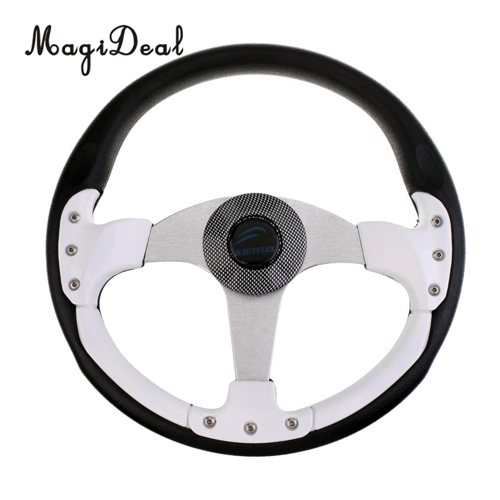 MagiDeal 340mm Aluminum Alloy 3 Spoke 3/4' Marine Boat Steering Wheel With Center Cap for Vessels Yacht Pontoon Boat Supplies free shipping 128 180mm aluminum alloy metal water steering wheel for rc gasoline boat racing o boat 180mm steering wheel