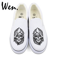 Wen White Black Slip On Canvas Shoes Design Death Skull Sneakers Halloween Gifts Men Women Low