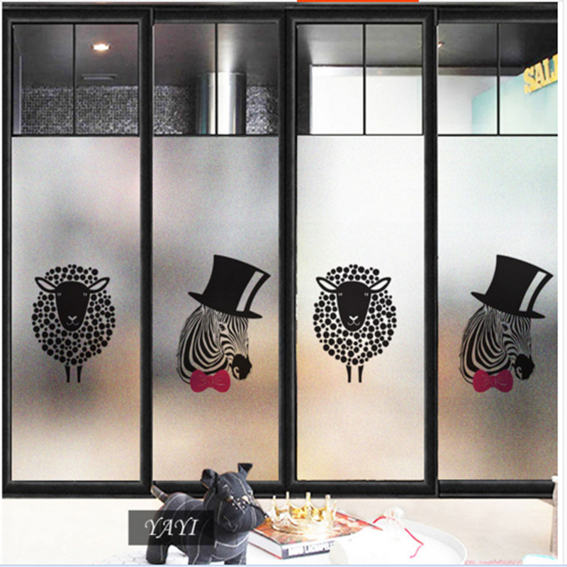Frosted glass stickers Cartoon zebra Bathrooms balcony door windows electrostatic transparent opaque film in Wall Stickers from Home Garden