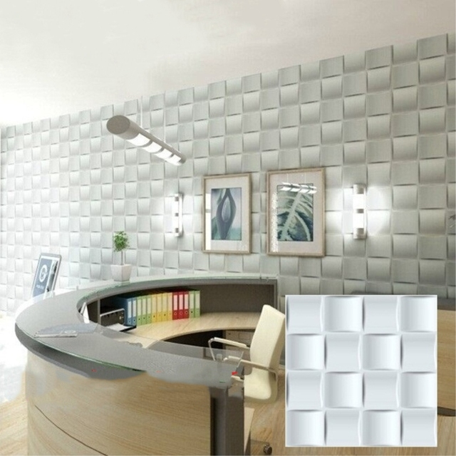 RAYUAN 4PCS PVC 3D Wall Stickers White Weave Wall Panel Waterproof  Wallpaper Living Room Shop Home
