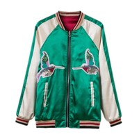 And American Wind 2017 Birds And Satin Embroidered Double Sided Color Matching Jacket Coat Baseball Uniform