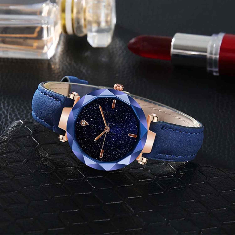 Luksusowe kobiety zegarki Starry Sky nieregularne Dial moda damska skórzany pasek do zegarka kwarcowy zegar Casual Reloj Mujer @ 50