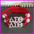 New style! 15pcs/lot  Very nice handcrafted braiding red bracelet rhinestone delta sigma theta sorority charm macrame bracelet