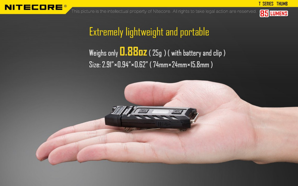 Nitecore THUMB USB Rechargeable High Performance 2xLED Light Handy Versatile Tiltable Worklight Outdoor Camping Not Battery