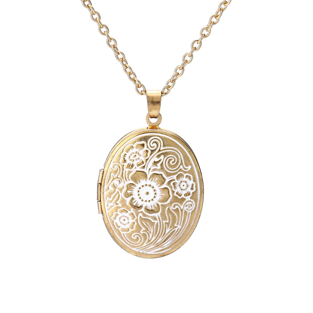 New Design Vintage Retro Flower Carved Oval Pendant Necklace Gold Color Beautiful Photo Locket Necklace Memory Love jewelry locket