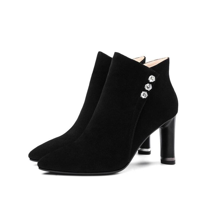 Élégantes Noir Pour Bout Hauts Mode Nouvelle Femmes Pointu Cheville Dames caramel Asumer Hiver Color Bottes 2018 En Cuir Talons Automne Suédé Zip NOvm0w8n
