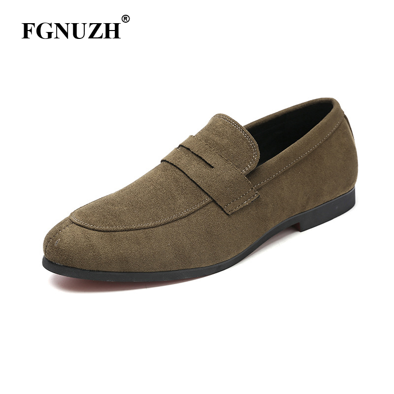 FGNUZH Italian Classic Mens Loafers Moccasins High Quality dress Shoes Mens Slip On Flats Shoes Male casual Driving Shoes ST383(China)