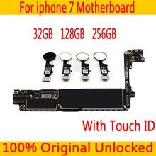 Полная разблокированная материнская плата для iphone 7 с/без сенсорного ID, оригинальная материнская плата для iphone 7 с бесплатным iCloud, 32 ГБ 128 ГБ 256 ГБ