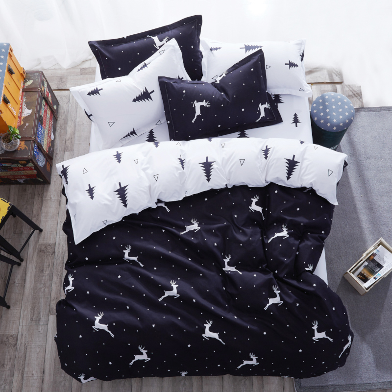 Black and White Twin king queen size Kids polyester bed ...