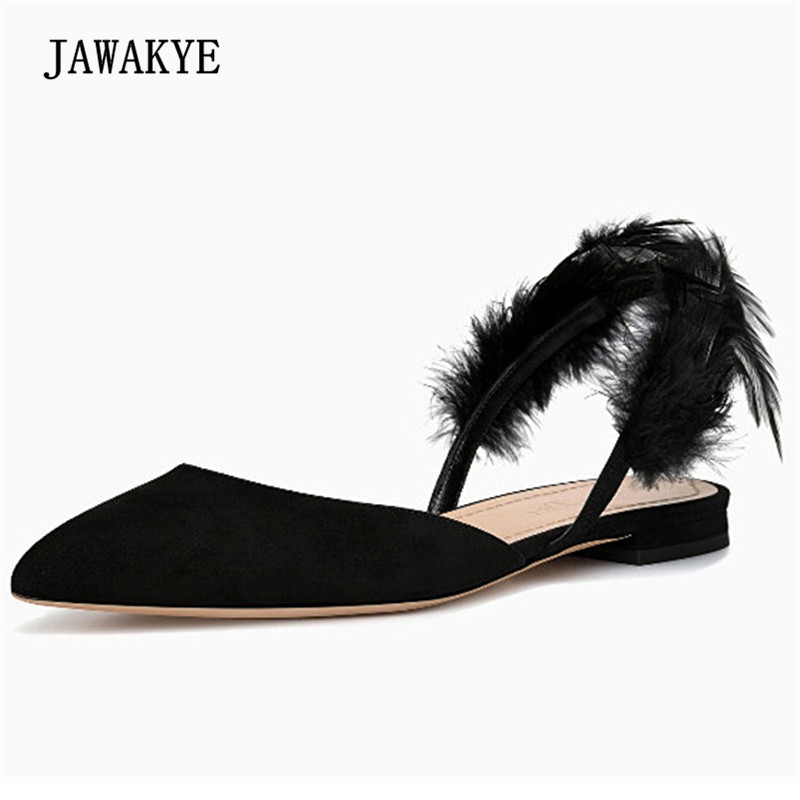 Newest Black Feather Gladiator Sandals Woman Pointed Toe Ankle Strap Black Suede Flat Shoes Women Sexy Slipper Sandals