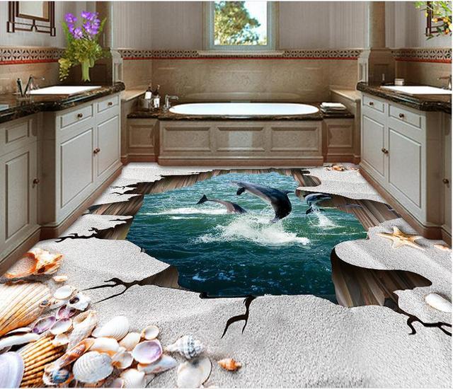9d flooring photo wallpaper 9d custom Ocean Beach Shell 9d wallpaper ...