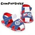 El Nuevo Verano 0-1 Zapatos de Bebé 2016 Bebé de Sexo Masculino de Mezclilla Coincidencia de Colores Al Aire Libre Cómodos Zapatos de Bebé YEW318