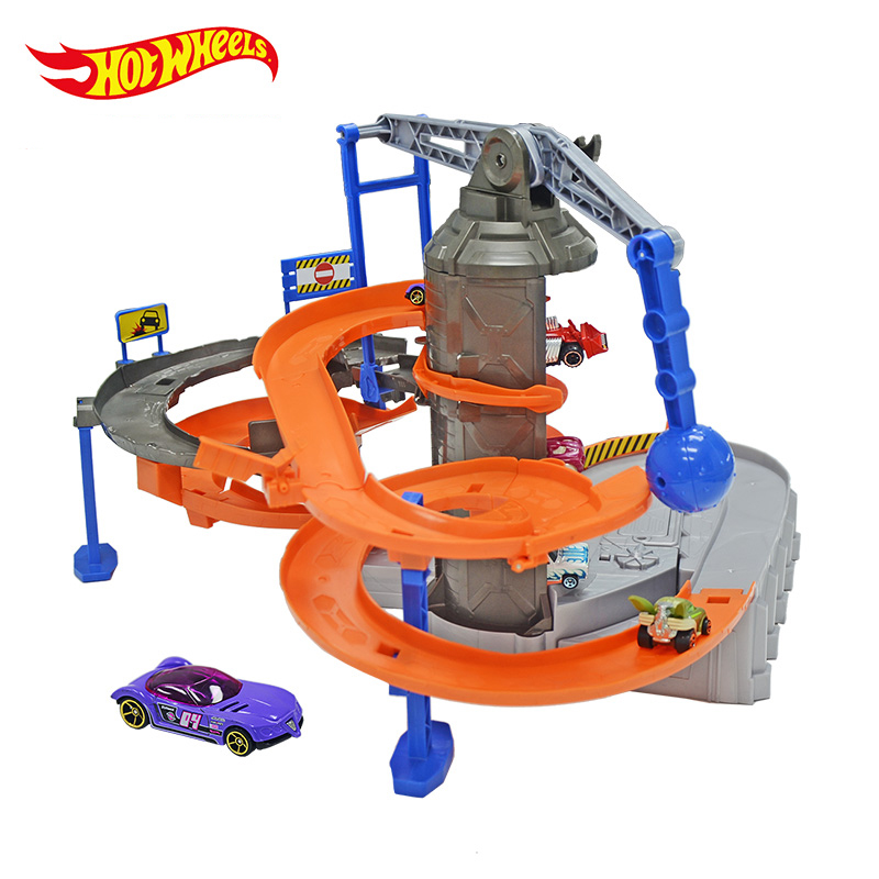 Hot wheels1:43 Zone Chaos Set track Toy Kids Plastic Metal Miniatures Cars Model Machines For Kids Carros Brinquedos Educativo