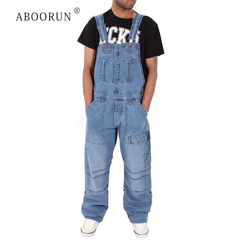ABOORUN Men's Fashion Denim Jumpsuits Multi Pockets Denim Bib Overalls Loose Cargo   Jeans   for Male R1040