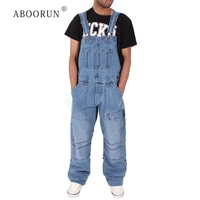 ABOORUN Men's Fashion Denim Jumpsuits Multi Pockets Denim Bib Overalls Loose Cargo Jeans for Male R1040