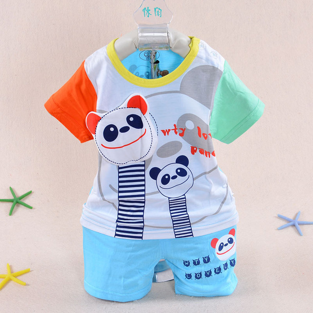 4436724e7fe41 2015 new summer style boy baby dress 3 months -2 years old baby clothing  Bamboo fiber Shorts Panda cool Vest baby clothing sets