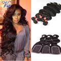 6a peruano onda do corpo lace closure com feixes de cabelo 5 pcs muito Cabelo Humano Peruano Virgem com fechamento produtos de cabelo Weave iwish