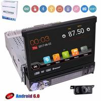 HD rearview camera + single din 1 din 7'' Android 6.0 car dvd player with Detachable Panel for anti theft touch screen in dash