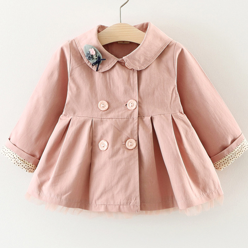 Autumn Winter Girls Double Breasted Flower Trench Infants Baby Kids Princess Coat Children Outerwear Coats Trench цена 2017