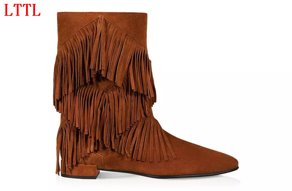 LTTL New fashion women tassel shoes mid-calf pointed toe chunky heels fringe decoration slip-on women Spring Autumn boots brown