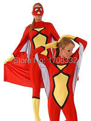 Red & Yellow Spiderwoman Costume fullbody Spandex Spiderman Costume Halloween Zentai Suit With Cape And Mask free shipping