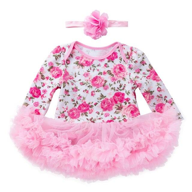 b66f91c4618d0 YK   love fleur imprimer bébé barboteuse robe à manches longues fille  vêtements coton combinaison avec