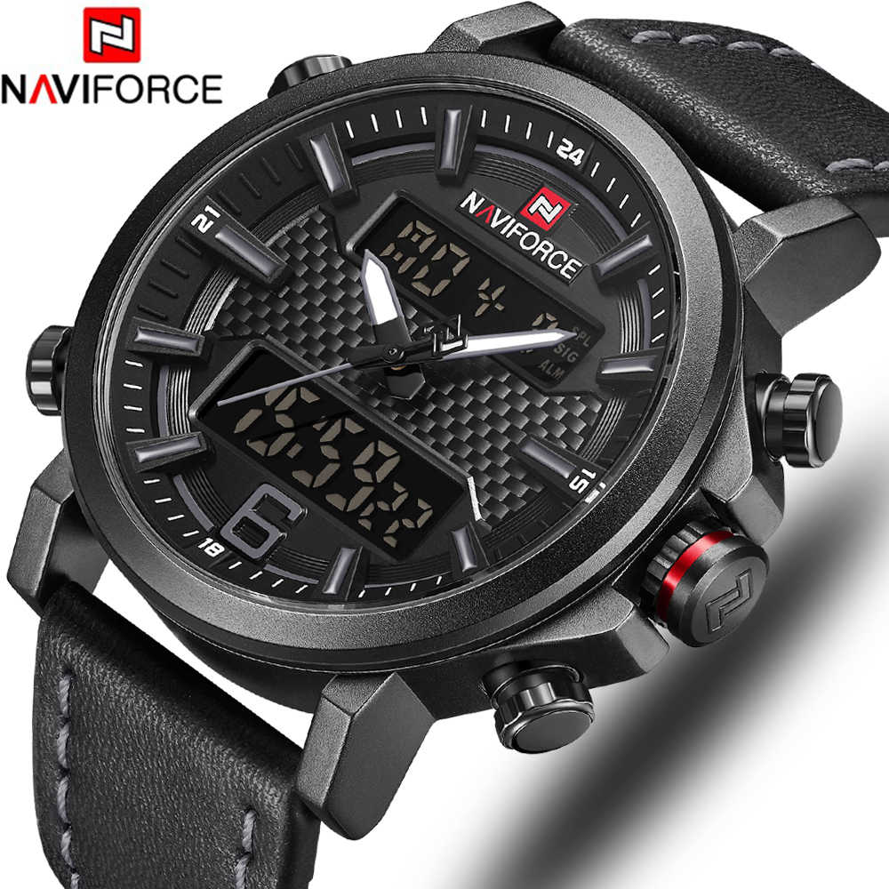 Naviforce Top Luxe Merk Militaire Quartz Heren Horloges Led Datum Analoge Digitale Horloge Mannen Mode Sport Klok Relogio Masculino
