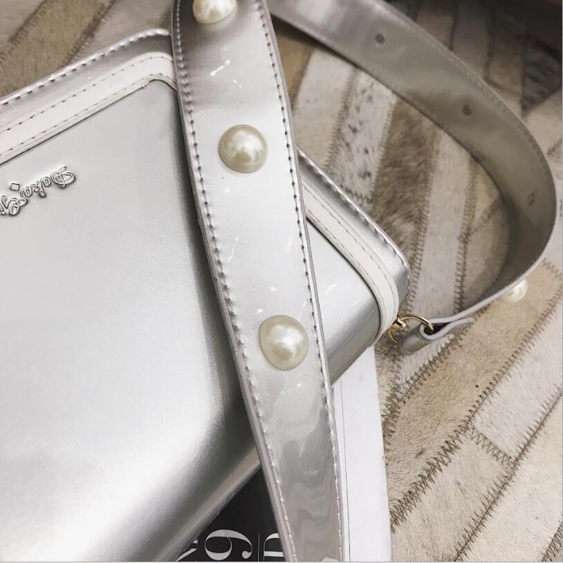 Patent Leather Pearl Strap Lady Flap Bag Women Shoulder Bag #2325 Fashion Woman Crossbody Bag Female Gift