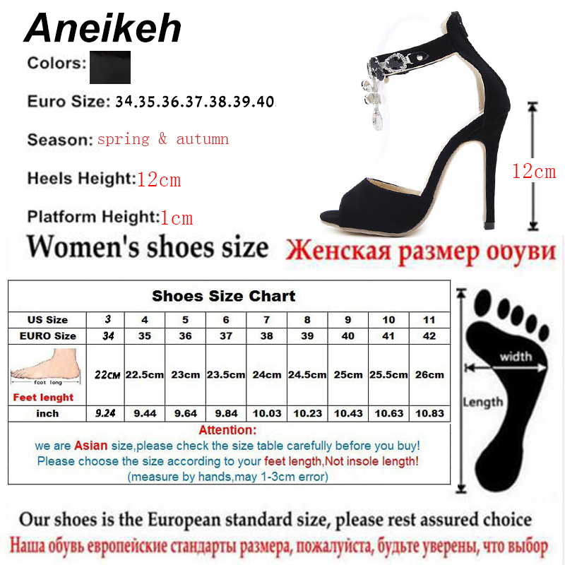 07f16fe60f9 Aneikeh Black Crystal Women Embellished Suede Leather High Heel Sandals  Sexy Peep Toe Ankle Strap Rhinestones Gladiator Shoes-in High Heels from  Shoes on ...