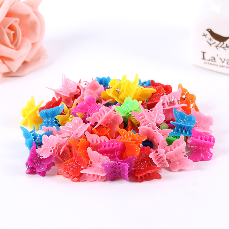 New arrivals multi colors mini hair claws of butterfly design cute small plastic hair clips 100pcs