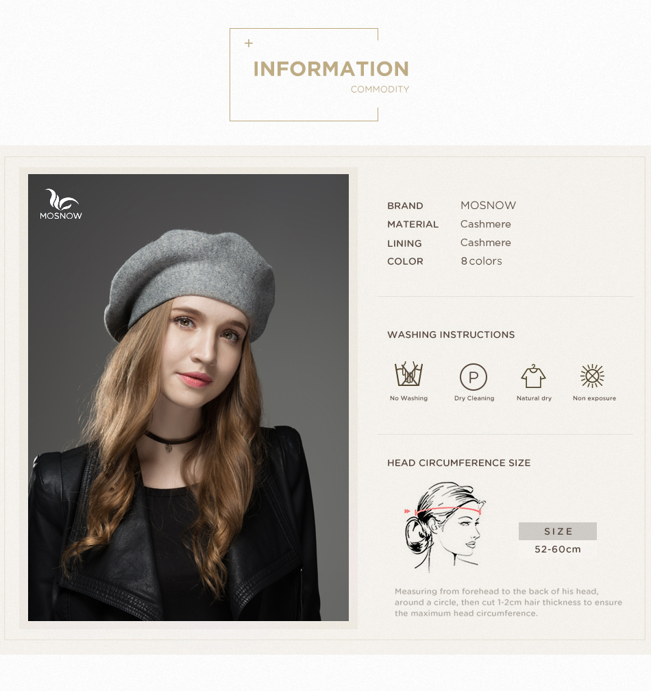Mosnow Winter Hat Berets 2018 New Wool Cashmere Womens Warm Brand