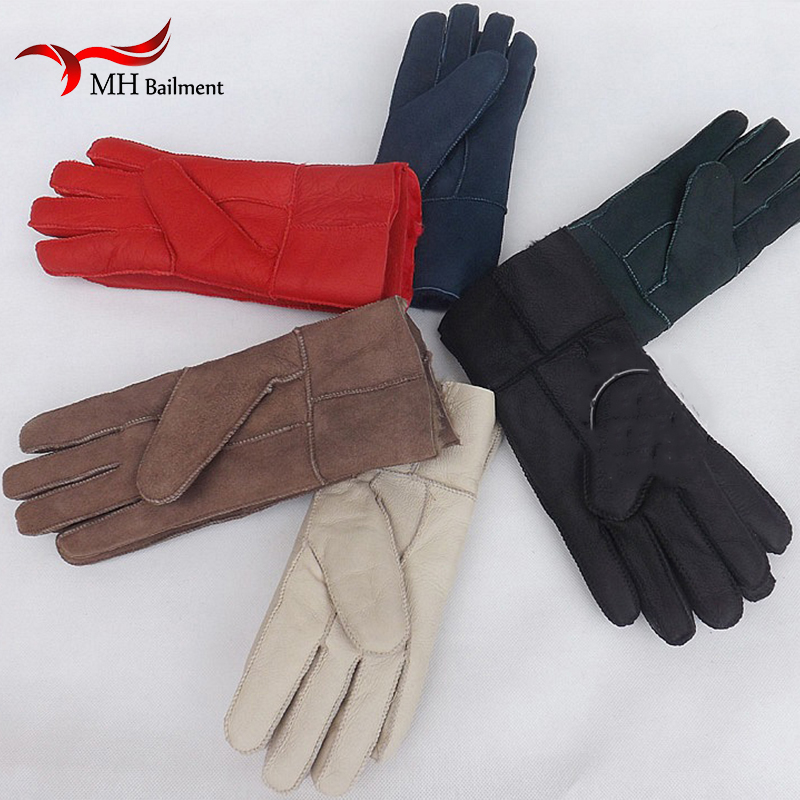 Hot Selling High Quality Mens Leather Gloves New Women Winter Fur Warm Gloves Sheepskin Leather Fur Gloves Men's Winter Gloves