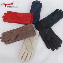 Hot sprzedaży wysokiej jakości męskie skórzane rękawiczki nowych kobiet zimowe futro ciepłe rękawiczki z owczej skóry futrzane rękawice męskie rękawiczki zimowe tanie tanio MH BAILMENT Unisex Dla dorosłych Stałe Elbow Moda