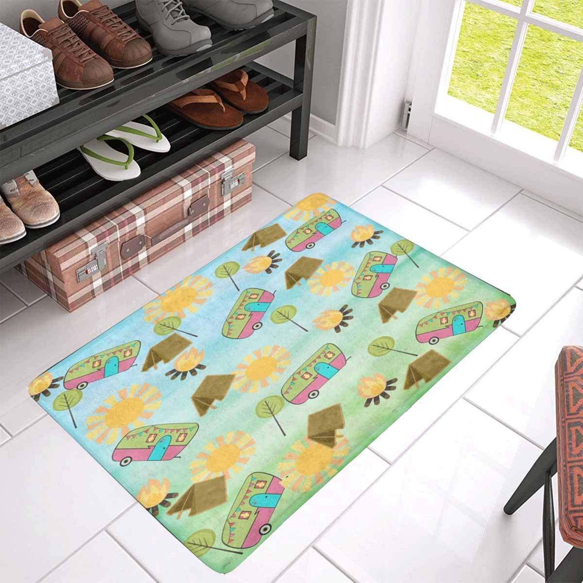 Bath Mat,Happy Camper Bathroom Carpet Rug,Non-Slip 3 Piece Bathroom Mat Set