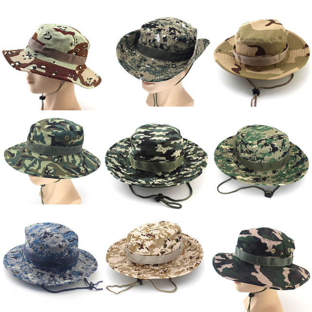 Camouflage Bucket Hat with String for Outdoors