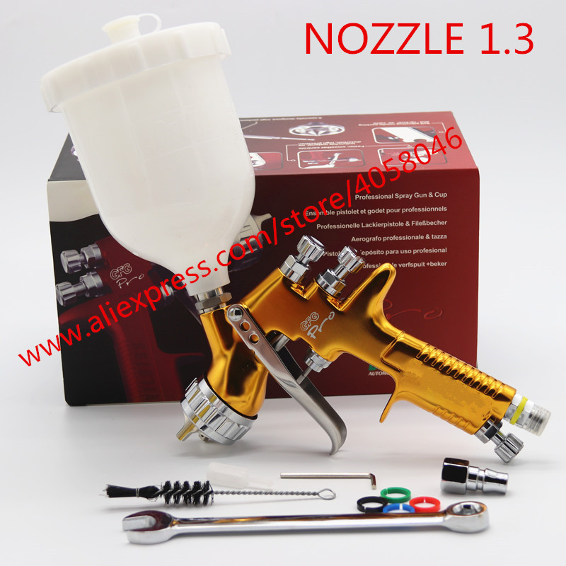 Cheap Sale New Professional Hvlp Spray Gun Car Repair Paint Spray Guns 1.3mm Nozzle For Painting Car Aerografo Paint Sprayer Airbrush Smoothing Circulation And Stopping Pains Power Tools