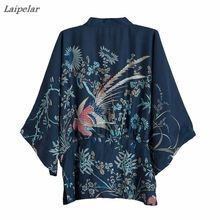 Harajuku Women Japanese Kimono Phoenix Printed 2018 Summer Vintage Bat Sleeve Loose Cardigan Sun Protection Blouse Laipelar
