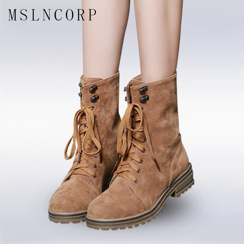 Plus Size 34-43 Fashion Women Boots With Warm Plush Shoes Spring Autumn Winter Lace Up Punk Flats Round Toe Ankle Martin Boots sarairis 2018 spring autumn punk mixed color ankle boots lace up rivet colorful shoes woman short plush large size 33 43 lady