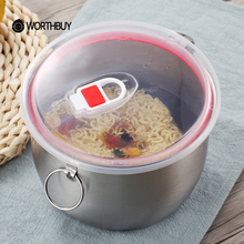 WORTHBUY 1 Pcs Chinese Stainless Steel Instant Noodle Bowl With Lid Handle Can Induction Cooker Heating Salad Fruit Rice Bowl