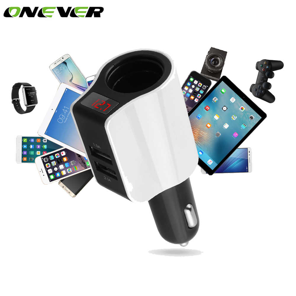 Onever Car Cigarette Lighter Socket Dual USB Car Quick Charger 2 Port Power Adapter for iPhone iPad 2.1A Charging Mobile Phone